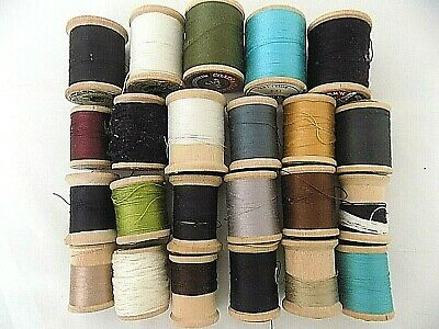 Antique/Vintage Lot-23 Spools of Full & Partially Used Cotton & Silk Thread