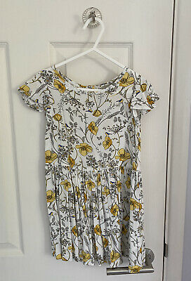 GREAT CONDITION Girls NEXT Floral Yellow Grey White Bird Dress 2-3 Years