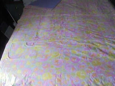 """Vintage Heavy Quilt 1960s Psychedelic/Lilac Hand Made Out Of Cotton. 62"""" x 76""""."""