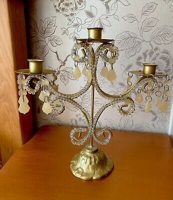 Pretty Gold and Glass Candelabra Candle Holder