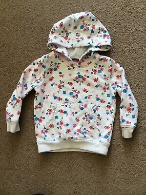 GEORGE Girls Hooded Jumper in White with Flower Motifs - aged 2-3yrs