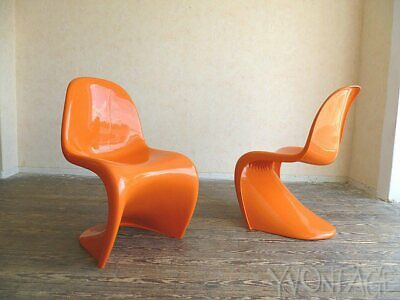 TOP 2er-Set Panton Chair Stuhl Kunststoff Herman Miller 1972 Space Age 70er