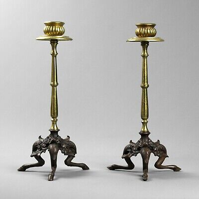 Pair of antique bronze ormolu candlesticks French Empire mid 19th century