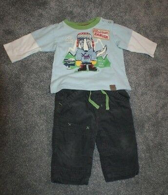 M&S Baby Boys Age 3-6 Months Trousers T-Shirt Set Cotton Marks And Spencer Cute