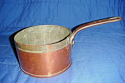 Victorian Copper Saucepan with Rivetted  Iron Handle Initialed I.B.C. 4