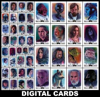 Topps Star Wars Card Trader STELLAR Wave 2 [49 CARD SKETCH CARD REPRODUCTION SET
