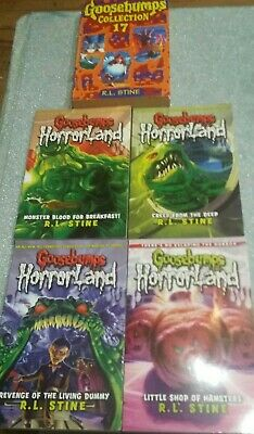 Goosebumps Horrorland 4 Book Bundle plus Collection 17. R L Stine. 5 Books.