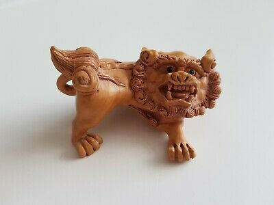 Vintage Wood Carved Chinese Foo Dog Lion