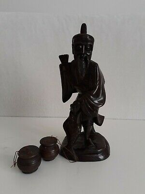 Antique Chinese Hand Carved Red Hard Wood Fisherman Figurine Statue
