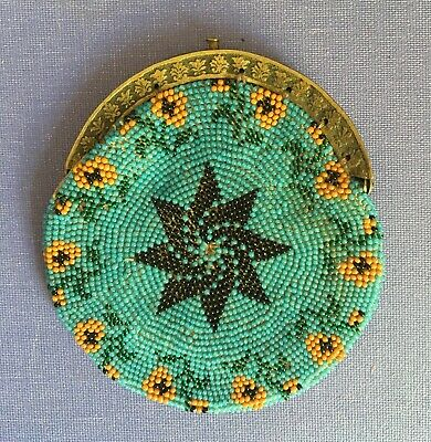 Beautiful Antique Victorian 19th Century Beaded Coin Purse Bag glass beads