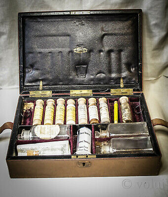 Rare Army & Navy Medical Early 20th Century Apothecary Set In Leather Case