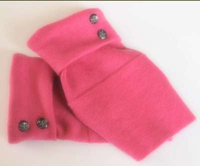 Fingerless Gloves Pink Women's 100% Merino Wool One Size Fits Most S M L Texting
