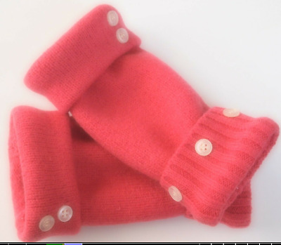 Fingerless Gloves Medium Pink Women's 100% Cashmere One Size Fits Most S M L