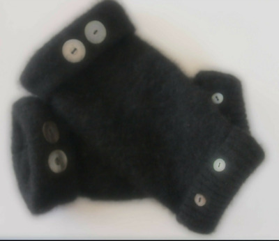 Fingerless Gloves Black Women's 100% Cashmere One Size Fits Most S M L Texting