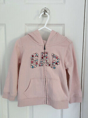 GREAT CONDITION Girls GAP Pink Floral Hoodie Hooded Sweater 3 Years