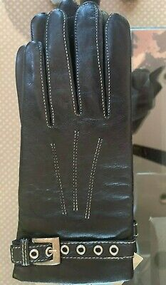 Women's Black Genuine Leather Gloves THINSULATE Fleece Lined  Size Large