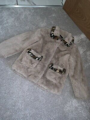 Girls Age 3-4 Faux Fur Coat Animal Print Cream