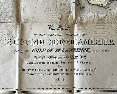Map Of The Eastern Portion Of British North America *1853* Gulf Of St Lawrence