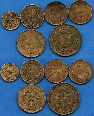 Tunisia Tunisie : Nice Lot of 6 French Colonial Coins 50 Centimes 1,2, 5 Francs