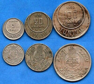 Tunisia Tunisie : Nice Lot of 3 Different Coins 5, 20, 100 Francs 1950 / 1957