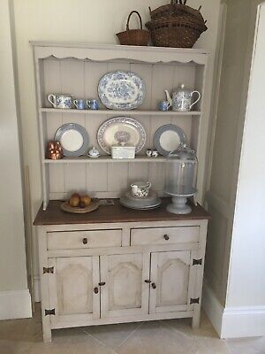Small antique oak dresser painted in Farrow and Ball Elephants Breath