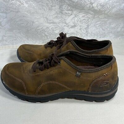 SKECHERS MEN'S SHOES Brown Leather Relaxed Fit Memory Foam