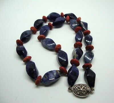 Chinese Export Lapis lazuli / Coral Bead Necklace -Silver Filigree Clasp