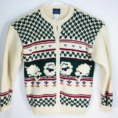 100% Wool Sheep Cardigan Sweater Knit Vintage 90s Woolrich XL Thick Warm