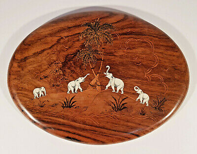 1920's Art Deco Rosewood Inlaid Tropical Elephant Oval Wall Plaque