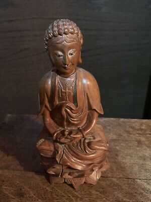 Antique Chinese Oriental Tibetan Wooden Buddha Statue Figurine Eyes