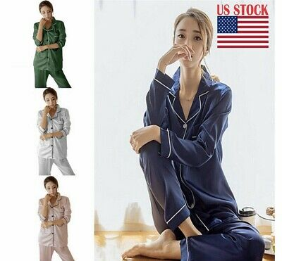 Women Silk Satin Pajama Pj's Set Long Sleeve Button Sleepwear Homewear Nightwear