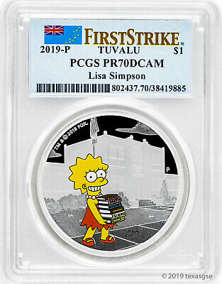 2019-P $1 Tuvalu Lisa Simpson 1 oz Silver Proof Coin PCGS PR70DCAM FS