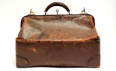 Leather Doctor Medical Apothecary Carrying Bag with Key ~ Early 1900's