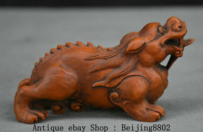 """4.2"""" Old Chinese Boxwood Wood Carving Feng Shui Pixiu Dragon Beast Lucky Statue"""