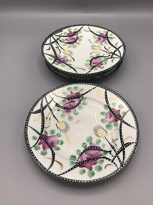 Lot of 4 Vintage Embossed Hand Painted Porcelain Japanese Floral Plates