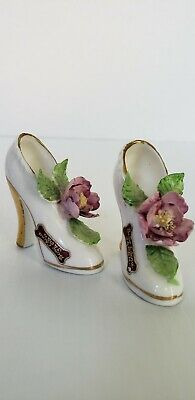 Pair of Vintage Bone China Miniature Shoe with Pink Purple Flowers Gold Accents