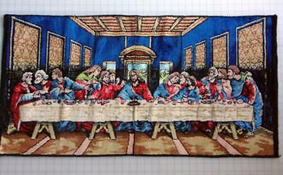 Vintage Tapestry Last Supper Jesus ApostlesWall Throw Rug Made in Italy 38 x 19