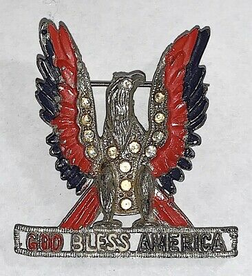 """Vintage Wwii Home Front Patriotic Eagle """"God Bless America"""" Pin"""