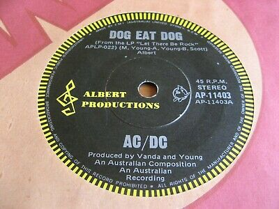 "Ac/Dc - Dog Eat Dog / Carry Me Home 7"" - Orig 1977 Australia Pressing -Bon Scott"