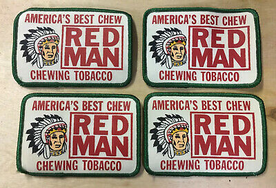 Lot Of 4 Vintage America's Best Chew Red Man Chewing Tobacco Patches New