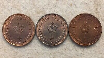 3 British UK one halfpence (half penny) coins, all uncirculated, 1971