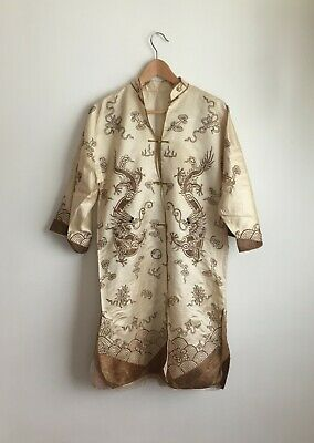 1920s 20s Vintage Chinoiserie Dragon Chinese Hand Embroidered Robe Jacket Silk