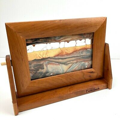 Exotic Sands Wood Framed Moving Sand Art 7x9.25in Orange Sunset