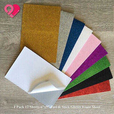 "12-48 Glitter Eva Foam Styrofoam Sheets 6""x9"" Art Craft Decoration Peel & Stick"