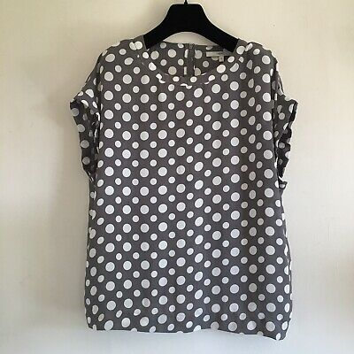 Ladies Next Top size 14/42 Polka Dot Spotty Chiffon Cap Sleeve Grey & white.