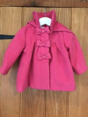 Monsoon Lovely Baby Girls Pink Coat Age 3-6 Months In Very Good Condition