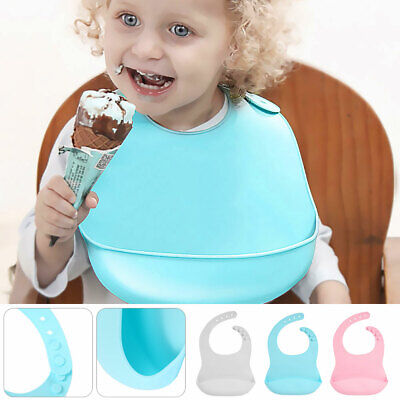 Waterproof Baby Silicone Bibs Feeding Bib Kids Roll up Food Catcher Pocket UK