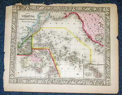 Original 1860 Mitchell Map of Oceanica Various Divisions, Islands 12.5 X 15.25