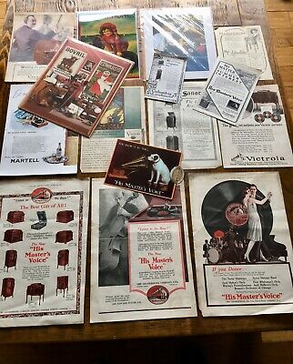 Vintage Job Lot Of Gramophone Advertising His Masters Voice Victrola Sonora Etc