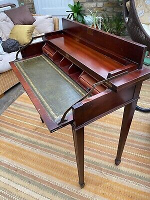 Antique Reproduction Writing Desk/Bureau with folding carved piano-style lid